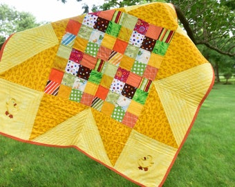 Handmade baby quilt/ baby quilt with ducks/ boy or girl quilt