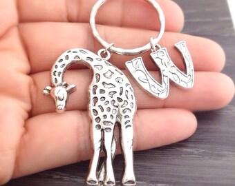 Personalized Giraffe Keychain, Initial Giraffe Keyring, Animal Jewelry, Safari Jewelry, Zoo Animal Keychain, Silver Keychain, Giraffe Lover