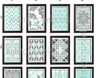Aqua Blue Green Grey Illustration Wall Art Pictures - Set of 9 - 8x10 Prints - (UNFRAMED) Your Custom Colors Sizes Available