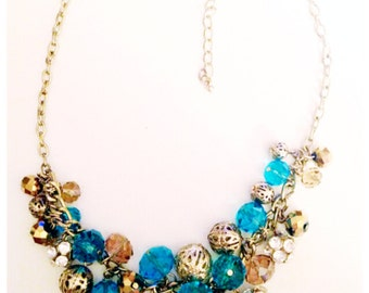 Chunky gold and blue statement necklace