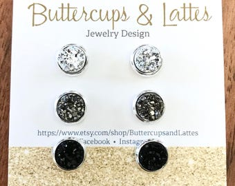 Silver, Gun Metal Gray, and Black Druzy Stud Earrings Set 8mm