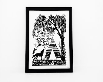 We Must Have Adventures, A4, Black and White, Wolf, Inspirational quote, Motivational quote, Adventure Awaits, Print, kids bedroom decor