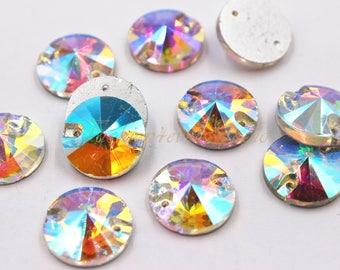 Sew On Flatback Glass Rhinestone Crystal AB, 8mm 10mm 12mm 14mm 16mm 18mm Sew On Rhinestones, FlatBack Crystal Glass,  Embellishment Gems