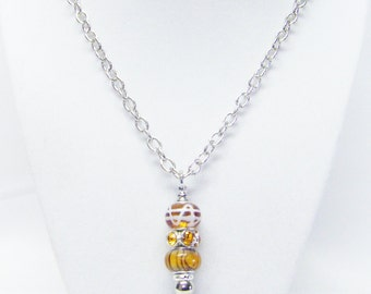 Amber Mix Big Hole Bead Pendant Necklace