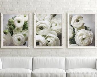 "20% off - White Floral Wall Art - Flower Botanical Set of Three Prints - White Gray Wall Art 8x10 Nature Living Room Art ""White Ranunculus"""