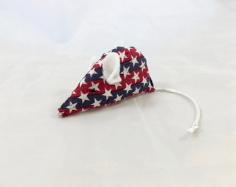 American stars cat toy, red white and blue mouse