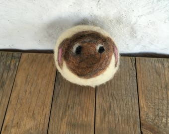 Brown and Black Sheep or Lamb, Felted Wool Toy Ball or Sculpture , Mini