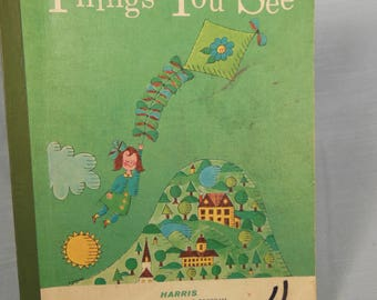 Vintage-1965-Things You See-Macmillan Reading Program Pre-Primer-3-Child Book
