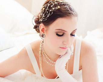 Gold Goddess Wire Pearl Head Wrap