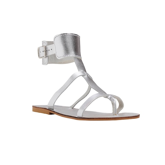 ancient Sandals CINTIA sandals roman cuff ankle sandals Greek sandals handmade leather thong silver sandals grecian sandals sandals pTx0Tf