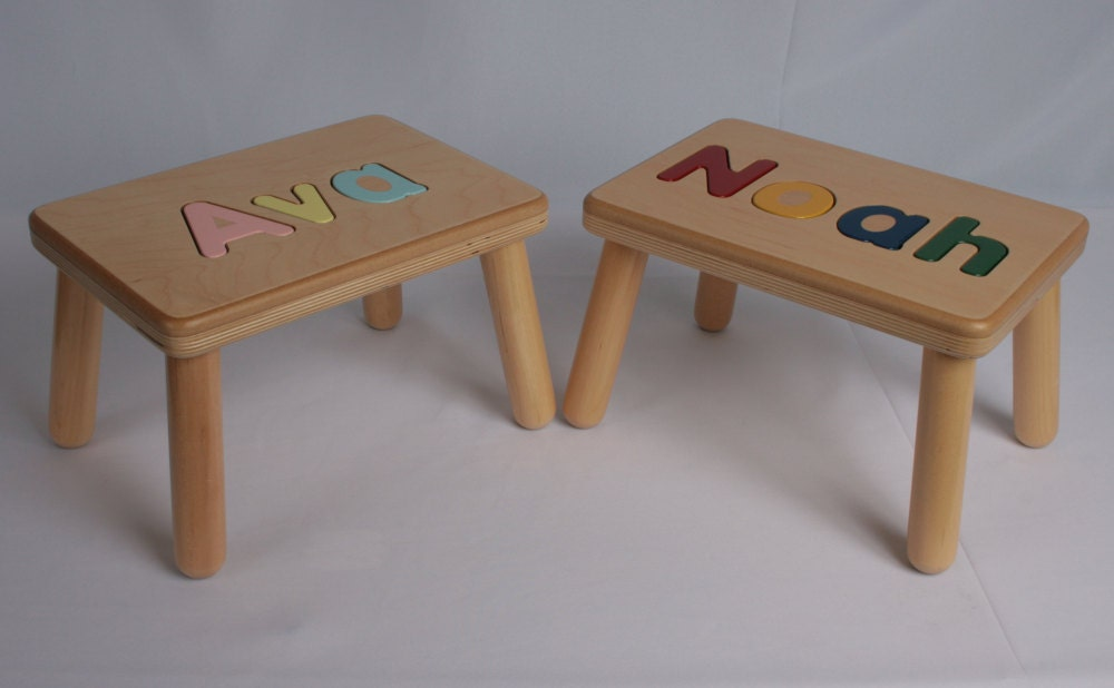 Wooden Name Puzzle Step Stool Bench Birthday Gift Wood