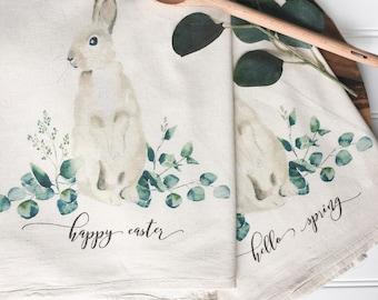 Tea Towel - Easter Tea Towel Hello Spring Tea Towel Farmhouse Decor Kitchen Decor Kitchen Towel Spring Decor Easter Bunny Tea Towel