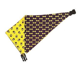 Uptown Pups Clip on Reversible Dog Bandana - Yellow & Purple