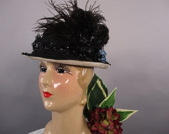 Edwardian Hat Wide Brim, Beaded Feathers  Straw Hat, Titanic Hat, Antique Straw Hat,Belle Epoque Style