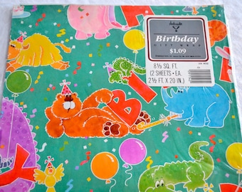 Vintage Wrapping Paper - Mod Animals Birthday Party  - Unused 2 Sheets NOS