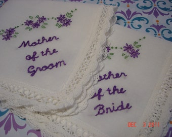 Mother of bride/mother of groom wedding handkerchiefs/hand embroidered/dated/purple/ weddinng colors welcome/ndc