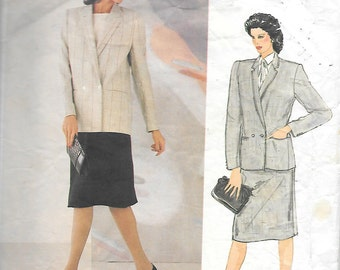 Vintage 1980's Vogue  Misses' Double Breasted Jacket And Straight Skirt Suit, By Joseph Picone Designer Collection For Vogue, Size 12
