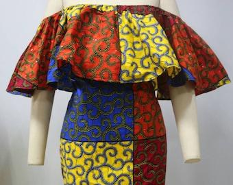 Dashiki ankara wax African print off shoulder mini dress