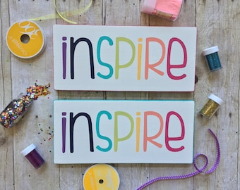 "INSPIRE Wood Sign / 5.5""x12"" / Wall Art / Playroom / Craft Room / Kids Room / Home Decor / Gallery Wall / Small Sign / Rainbow / Colorful"