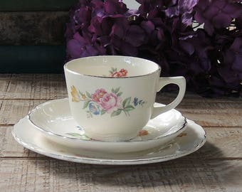 Floral Cottage Style Tea Cup Trio, Rosebuds, SCIO, Tea Party, Dessert Plate, Weddings, Housewarming Gift Inspired