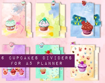 CUPCAKES ... Dividers for A5 planner