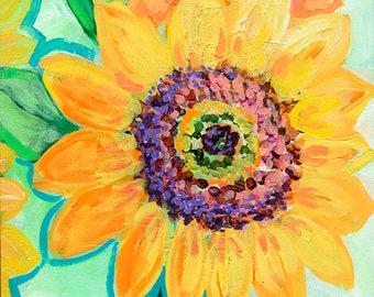 Modern Floral Art - Sunflower Trio - Fine Art Print by Jenlo