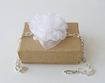 White organza wedding bracelet, ruffled flower bracelet, bridesmaid gift, botanical bridal bracelet