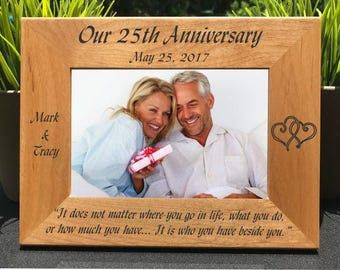 Wedding Anniversary // Personalized Engraved Photo Frame // Picture Frame // Anniversary Gift // 25 Years / First / 5 Year / 10 Year / 20