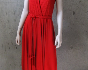 Cross Front Dress Jersey Kay Unger Self Belt Handkerchief Hem Midi Sleeveless Red SZ-10 Vintage 90s