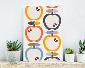 Kitchen Art Print, Fruit Art Print, Nursery Art, Scandinavian Kitchen Art, Kids Wall Art, Scandinavian Nursery, Large Wall Art, Apples