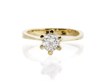 Diamond Engagement Ring 0.60 ct-Solitaire ring-14K Yellow Gold -Women Jewelry-Promise ring-Bridal Jewelry-Anniversary-Wedding&engagement