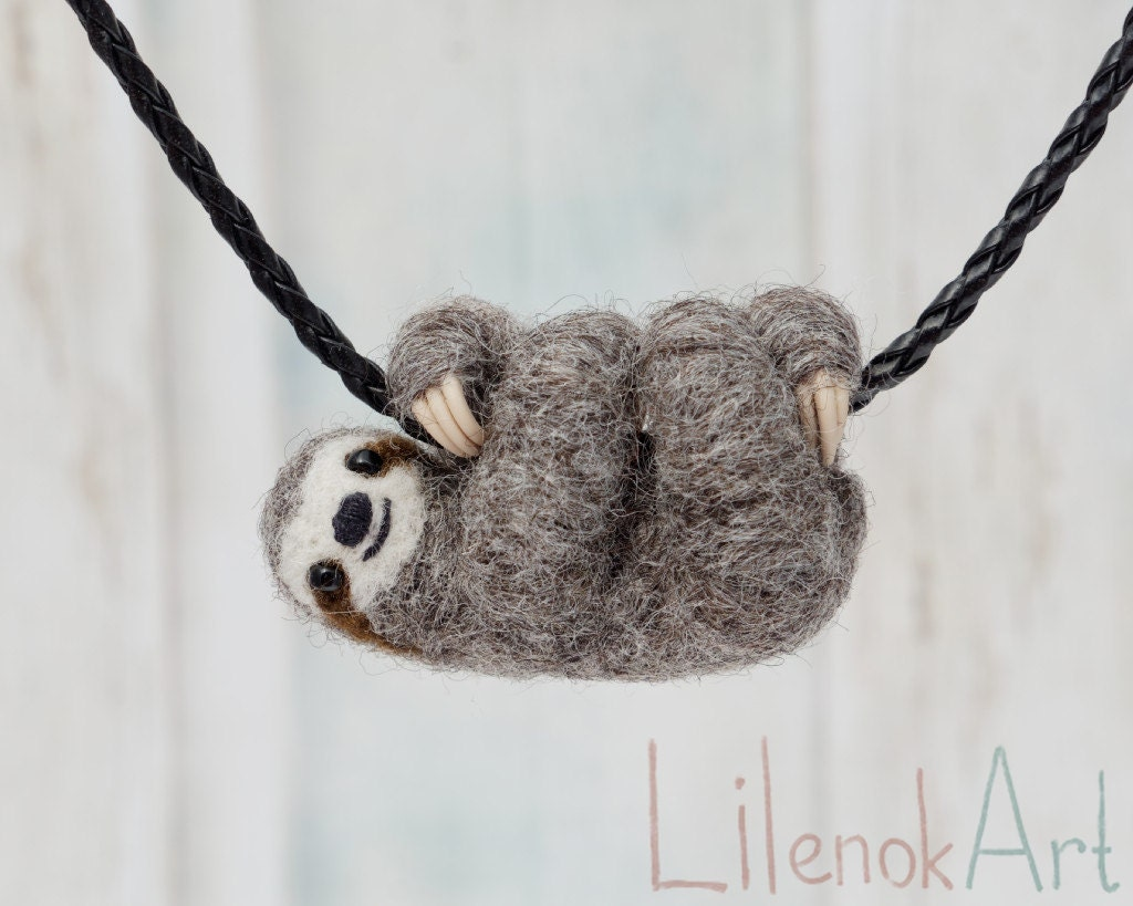 by pin pendant aud art sculpture yellowtreestore necklace sloth