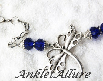Anklet Ankle Bracelet Dragonfly Anklet Beach Anklet Chain Anklet Silver Anklets for Women Blue