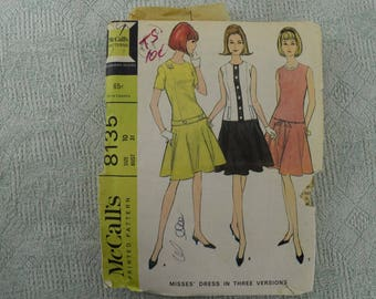McCall's Sewing Pattern 8135 long waisted dress from 1965 size 10