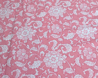White Flowers on Pink Cotton Fabric