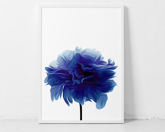 Blue Wall Print Based on A Flower Photograph
