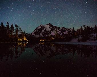 Star Photography, Astrophotography, Night Sky Photo, Mountain Reflection, Washington State Mountains, Mount Shuksan, Cascades, Picture Lake