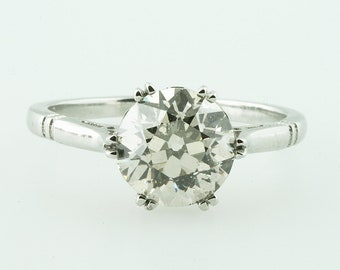 Old European Cut Diamond 1.92 Carat Solitaire Engagement Ring in Platinum 1920s 1930s  Art Deco Ring Art Nouveau Edwardian Ring