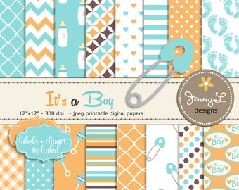 Baby Shower Digital papers, Baptism Baby Boy Birth Announcement, Safety Pin Clipart, Baby Rattle, Baby Bottle, Digital Scrapbooking Paper