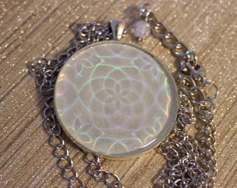 Hologram pendant etsy glow in the dark holographic flower pendant necklace sealed in clear resin mozeypictures Images