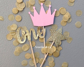 12 First birthday cupcake toppers, Cake toppers Toppers, Gold and pink toppers, First birthday