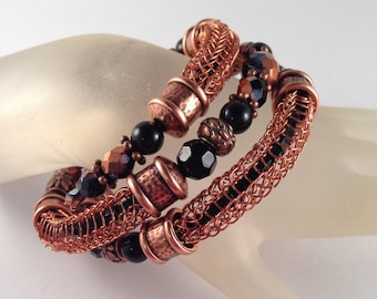 Copper and Black Viking Knit Bangle Bracelet with Black Beads Inside the Viking Knit Wrap Bracelet Wraps Around 2.5 Times Fits All Sizes