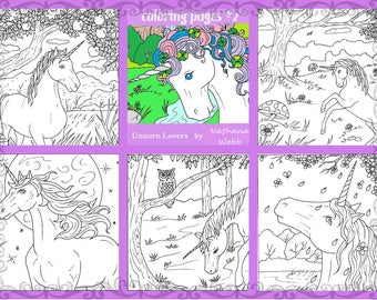 Coloring page-adult coloring- #2 5 page pdf Unicorns... by nashana webb