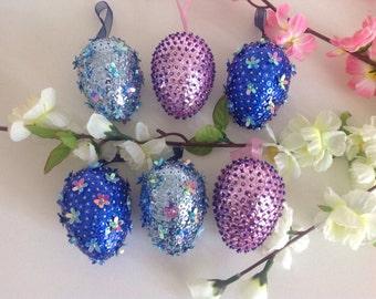 Handmade sequin eggs