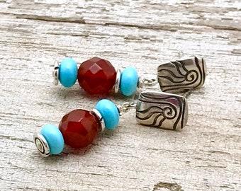 Carnelian Sky Blue Czech Glass Sterling  Silver  Post  Earrings   Minimalist Stud Geometric  for Her Under 100 Sister Mom Wife Friend Gift