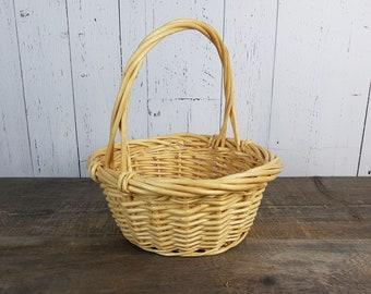 "Vintage Wicker Carrying Basket 12"" High x 10"" Wide Easter Basket Flower Girl Handle Basket Rustic Wedding Boho Chic Country Storage Decor"