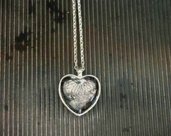 Silvered Glass Heart Pendant, Antiqued Silver Glass Pendant Necklace