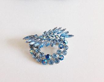 Sherman Parure, Swarovski Crystal Brooch, Blue AB Crystal Brooch,