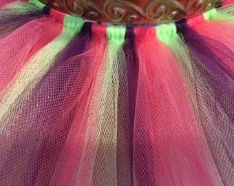Baby Dark Purple,Bright Lime Green, And Dark Pink Coral Tutu Skirt