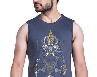 Men's Tank Top- Words Manifestation Art- Psy Trance Clothing- Rave sleeveless T-shirt-Festival Wear- Psychedelic Art - Graphic mens vest